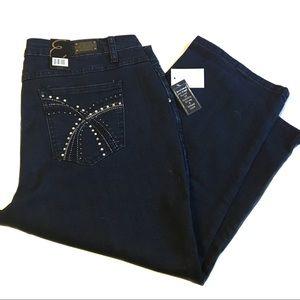Earl Jeans capri pants dark wash size 16W NWT!